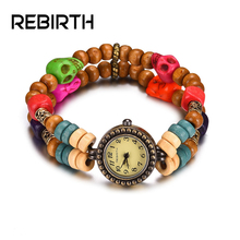 REBIRTH RE036 New Design Skull Skeleton Doubl Bracelet Wristband Watches Ladies Quartz Retro Fashion Small dial Wrist Watch