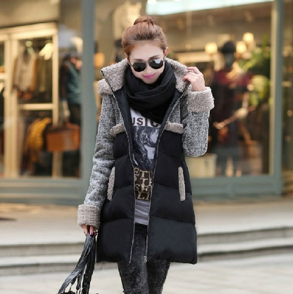 plus size new models winter coats A-line warm was thin parkas women spliced hooded woolen padded overcoats female S925