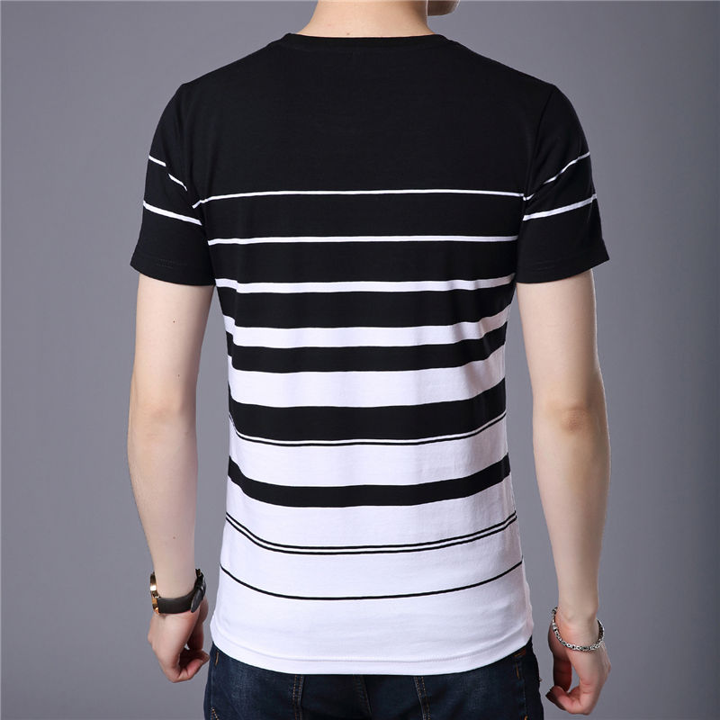 Striped Printed Round Neck Pure Cotton Short Sleeve T-Shirt for Men
