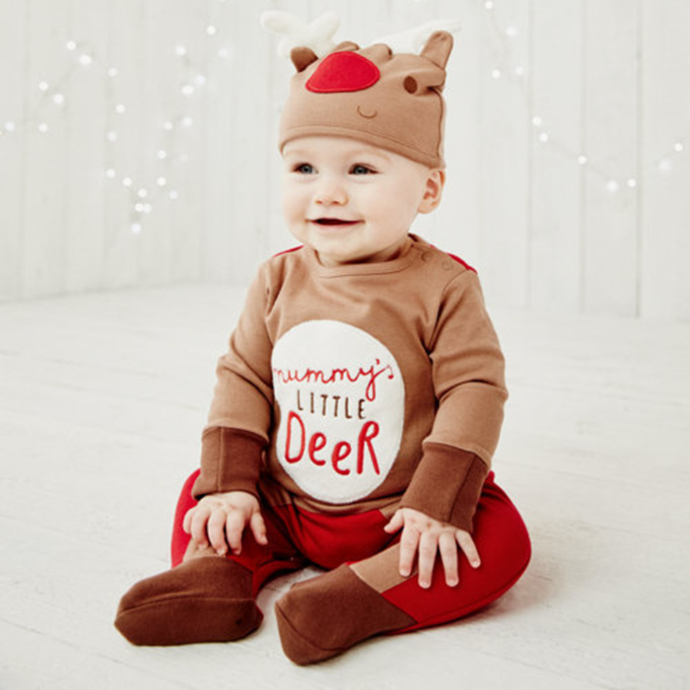 Hot! Newborn Baby Clothes Reindeer Style Costume Outfits Romper With Hat Set Christmas Long Sleeve Infant Clothing New Sale newborn baby photography props infant knit crochet costume peacock photo prop costume headband hat clothes set baby shower gift