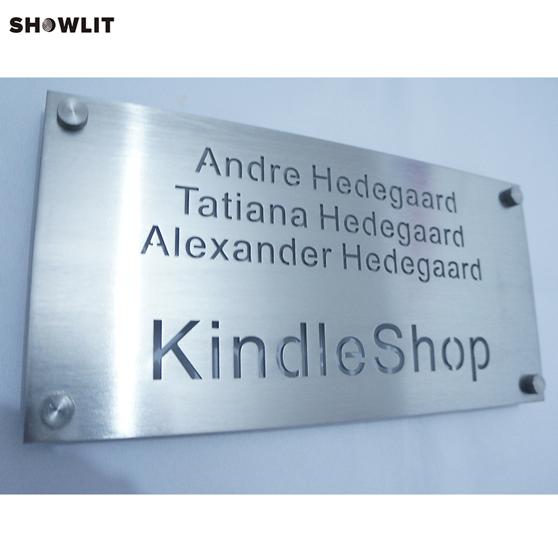 Modern Style Custom Made Brushed Stainless Steel Engraved Office Signs modern brushed aluminum install address signs