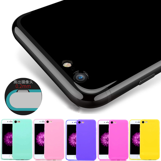 b04d29acc5 For iPhone 7 Case Jet Black Shockproof Soft Glossy TPU Silicone Gel Phone  Cases Back Cover