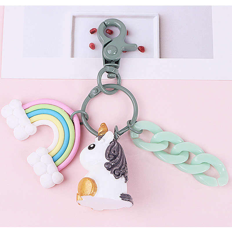 New Rainbow Unicorn Animal PVC Keychain para Ornamento Do Saco Das Mulheres Dos Homens Chave Do Carro Cadeia Porte Clef chaveiro Bolsa Decoração Jóias