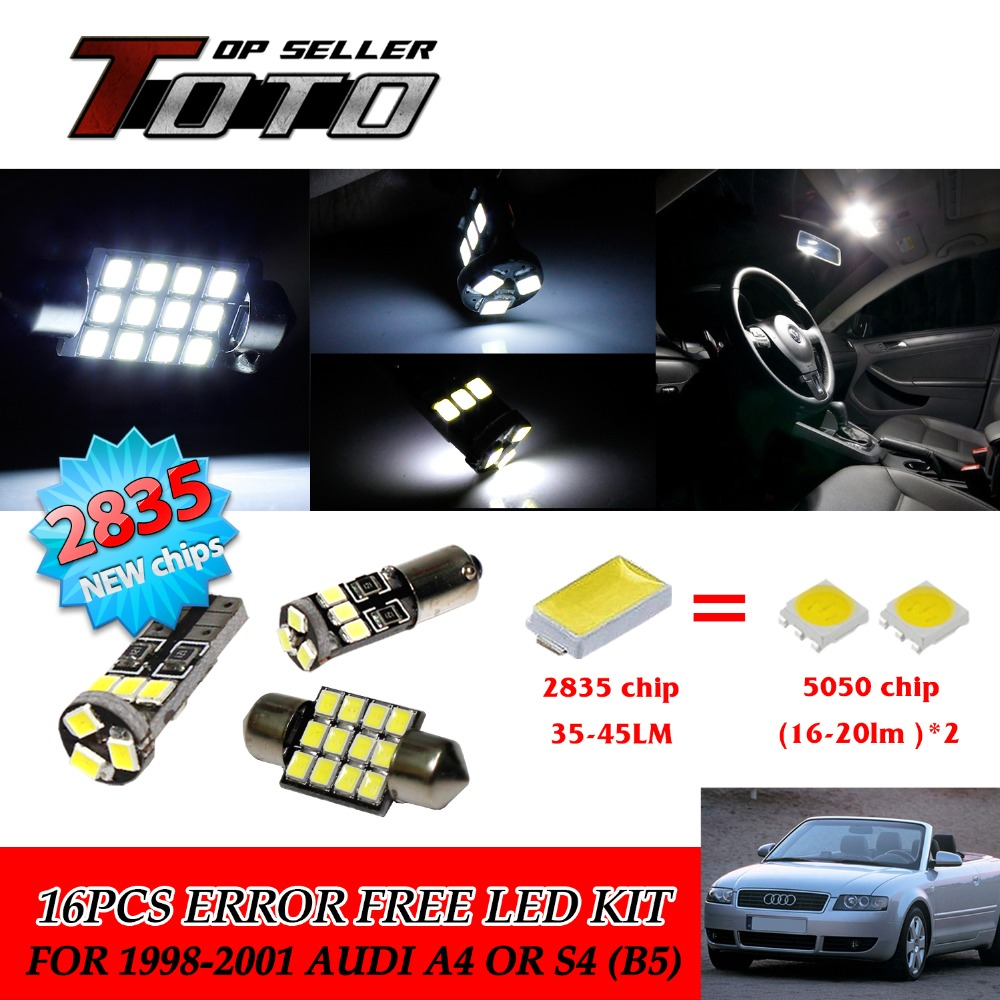 17x Canbus Error Free Dome Car License Plate Light White 2835 Newest Chips LED Interior Kit For Audi A4 or S4 (B5) 1999-2001 #60 free shipping 60 17x a4 s4 b5 1998 2001 white led lights interior package kit canbus