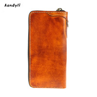 Cowhide coin purse Men wallet Handmade tanning leather purse Women hand bag