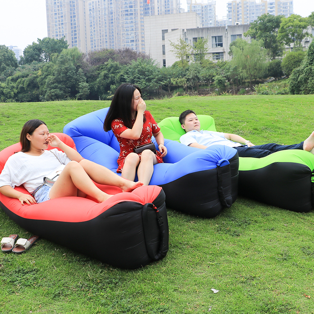 Outdoor Portable Beach Lazy Pillow Air Sofa Fold Fast Inflatable Sofa Bed  Air Sofa Sleeping Camping