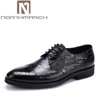 NORTHMARCH Uomini Brogue Oxford Scarpe In Pelle di Marca Per Gli Uomini D'affari Uomini Comodi Pattini di Vestito Vino Rosso sapatos masculinos