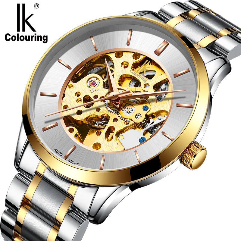 2017 New Retro Original Box Luxury IK Coloring Men's Sapphire See Through Auto Mechanical Watches WR Wristwatch Gift Free Ship ik colouring new design retro hollow golden auto self windmechanical luxury watch men skeleton wristwatch original box for gift