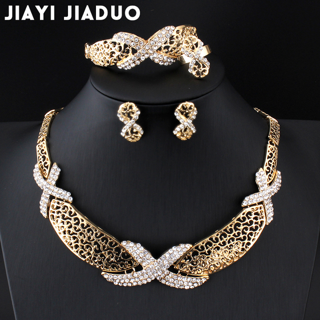 jiayijiaduo Popular fashion boutique wedding jewelry sets for women Gold-color Necklace earrings bracelet crystal apparel