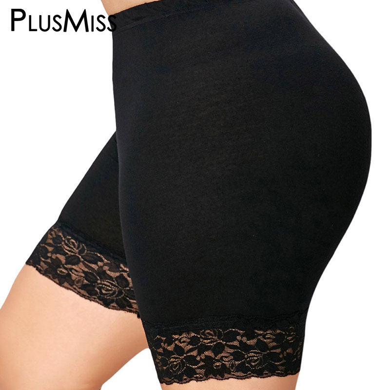 PlusMiss Plus Size 5XL Sexy Black Lace Short   Leggings   Under Skirts Women Legins Skinny High Waist Leggins Pants Ladies Big Size