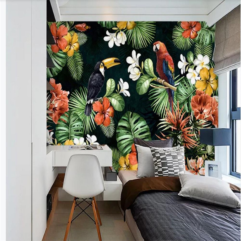 Custom wallpaper hand painted parrot tropical rainforest tropical plants cartoon background wall high grade waterproof material in Fabric Textile Wallcoverings from Home Improvement