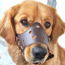 Real Leather Safety Adjustable Breathbale Basket Pet Dog Puppy Cage Muzzle Anti-bite Cowhide Cover Mouth Muzzle Mask XC-ZT001