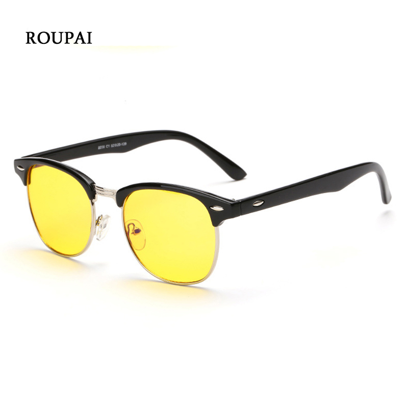 ROUPAI Female Grade Eyeglasses Computer Goggles Lunette Anti Blue Light Radiation Rays Gaming Semi Rimless Eye Glasses For Men