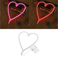 YAM Waterproof LED Loving Heart Neon Sign Light Night Lamp W Battery Box Wedding Xmas Party