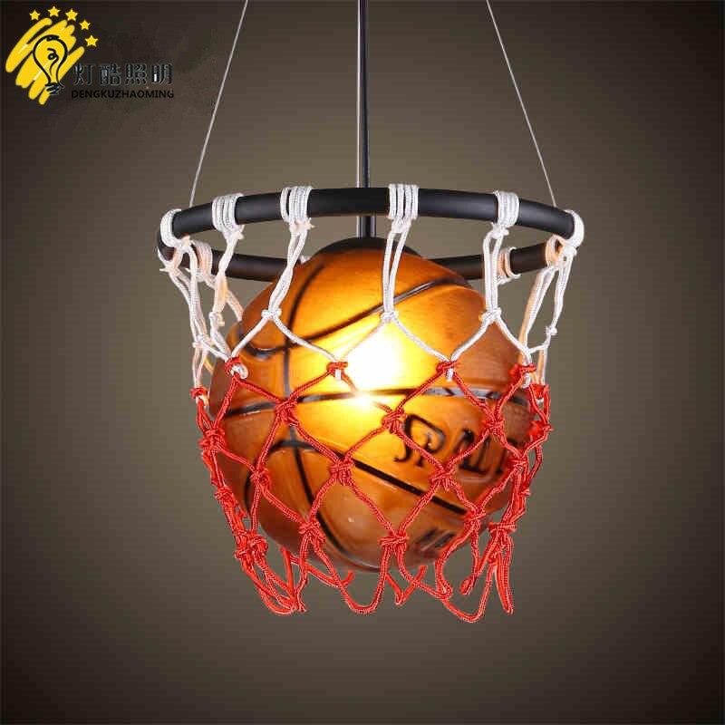 Lustre de basket-ball américain personnalité enfant chambre chambre lustre, antique bar table sport stade éclairage