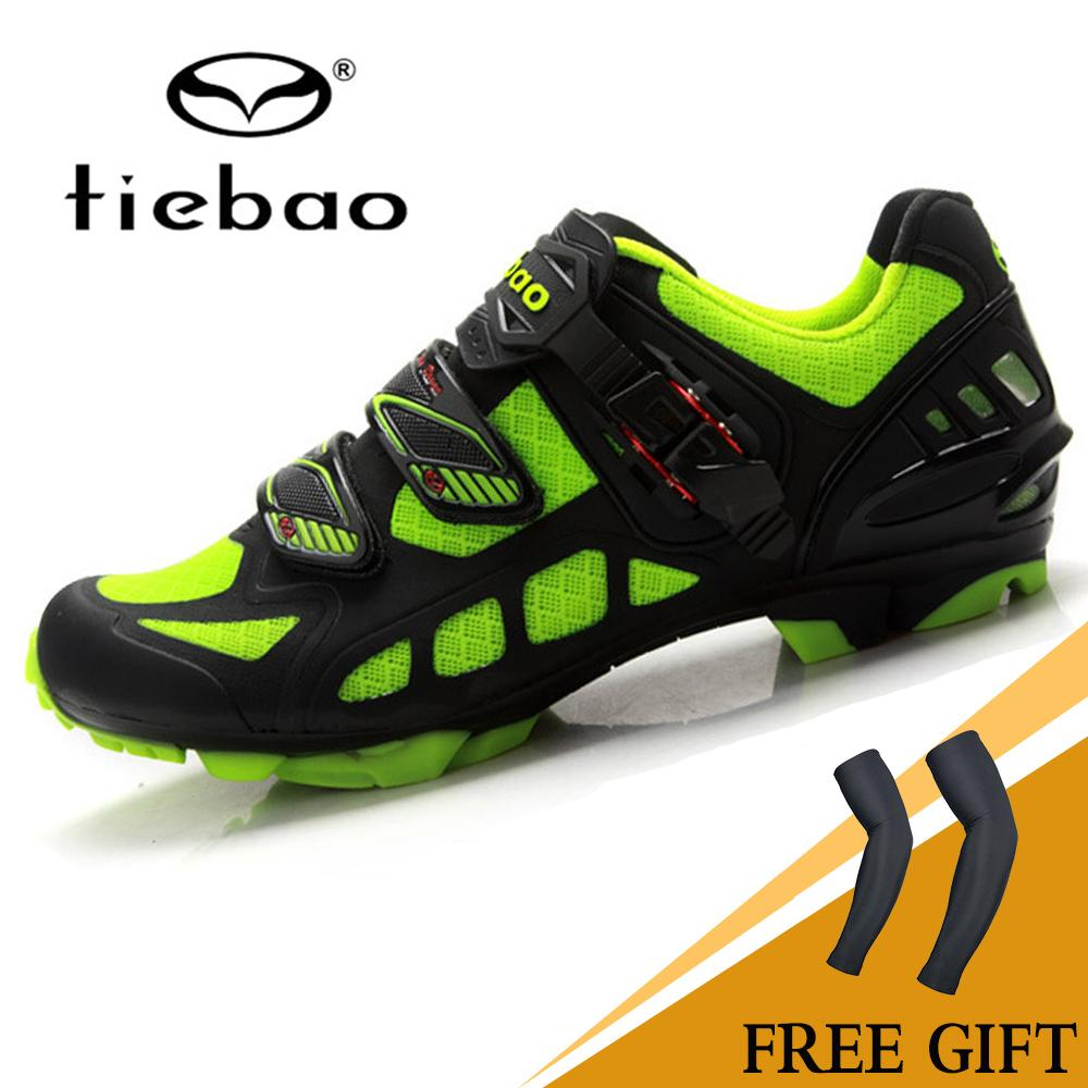 Tiebao MTB Bike Shoes Professional Sports Shoes Lock Shoes Black Green