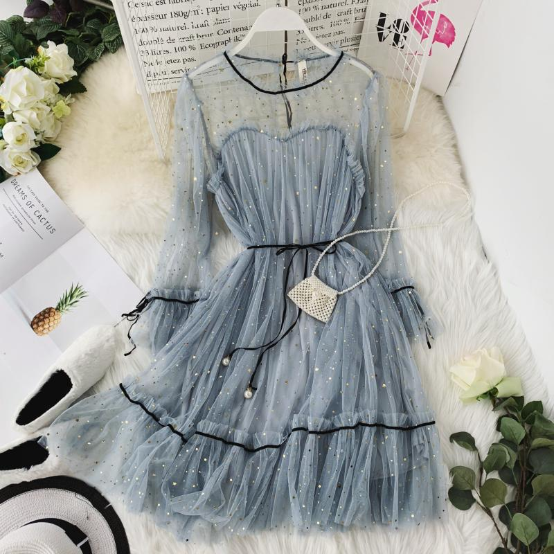HISUMA spring autumn new women Star sequins gauze flare sleeve lace-up Princess dress female elegant o-neck mesh puff dresses 50