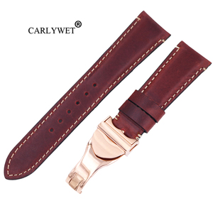 CARLYWET 22mm High Quality Genuine Leather Replacement Wrist Watchband Strap Belt Loops Band Bracelets For IWC Tudor Breitling