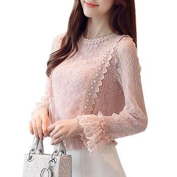 953456c4dd3 Elegante manga más cálido de invierno de terciopelo Crochet de encaje  camisa de encaje de mujeres blusas coreano Rosa Vintage Tops 2018 S-XXL