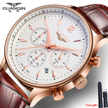 Watches Men Luxury Brand GUANQIN Sport Watches Fashion wristwatch Chronograph waterproof 50M Genuine leather Quartz Men watches weide men s sport dress watches black dial waterproof quartz analog multiple time zone watches leather strap buckle wristwatch