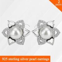 LGSY 2pairs Latest Beautiful Heart Shape Flower Design 925 Sterling Silver Girl Jewelry Pearl Earring