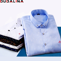 Dudalina Male 2017 Printing Embroidery Classic Business Men S Shirts Long Sleeve Turndown Collar Plus Size