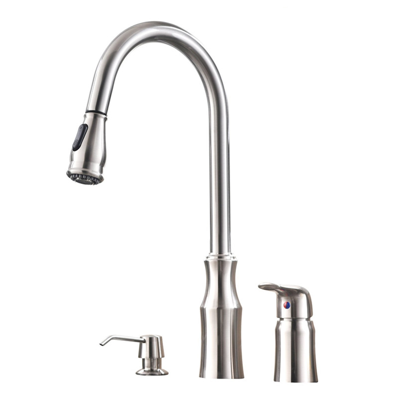 Commercial High Arc Stainless Steel Single Handle Pull Down Kitchen Faucet Brushed Nickel Kitchen Sink Faucet with Soap Dispense stainless steel material double kitchen sink strainer with flexible hose x19028