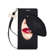 For IPhone X Luxury Leather Case Wallet Cover With Comestic Mirror And Hand Strap Black Gold