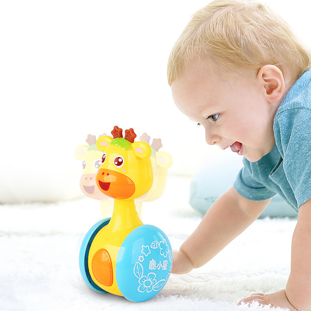 Sonajeros móviles para bebés, vaso de jirafa para niños, juguetes para niños, muñecas musicales educativas, campanas de cama, cochecito de dibujos animados