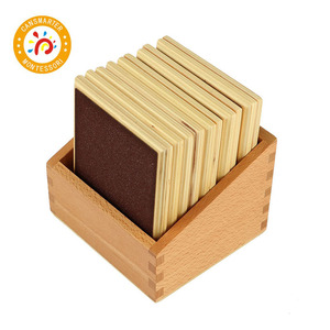 Montessori Kids Toy Touch Boards Rough & Smooth Boards with Box Early Childhood Education Preschool