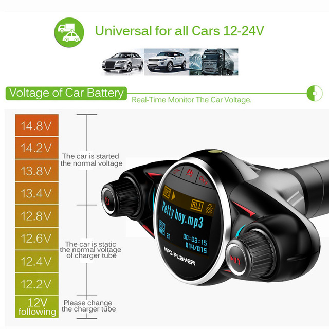 JINSERTA Bluetooth Handsfree Car Kit MP3 Player FM Transmitter Aux Modulator 2.1A USB Charger for iPhone XS Android