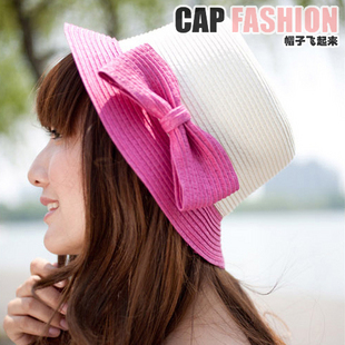 Summer sunbonnet brimmer sunscreen bow chromophous strawhat sun hat small round hat women's