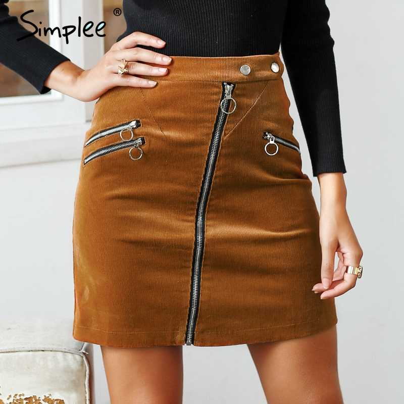 3adca8d55e9 Simplee винтажная Вельветовая юбка-карандаш модная уличная молния  поддельный карман короткая юбка 2018 Новая Осенняя