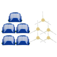 6pcs Blue AeroVac Filter 6 Side Brush For IRobot Roomba 600 Series 610 620 630 650