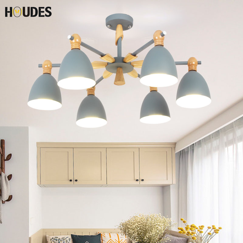 Modern Nordic LED chandelier living room wooden luster with iron shade E27 chandelier adjustable kitchen restaurant lighting chinese style wooden 1 2 3 heads lamps chinese restaurant new classical restaurant chandelier wooden sheepskin chandelier