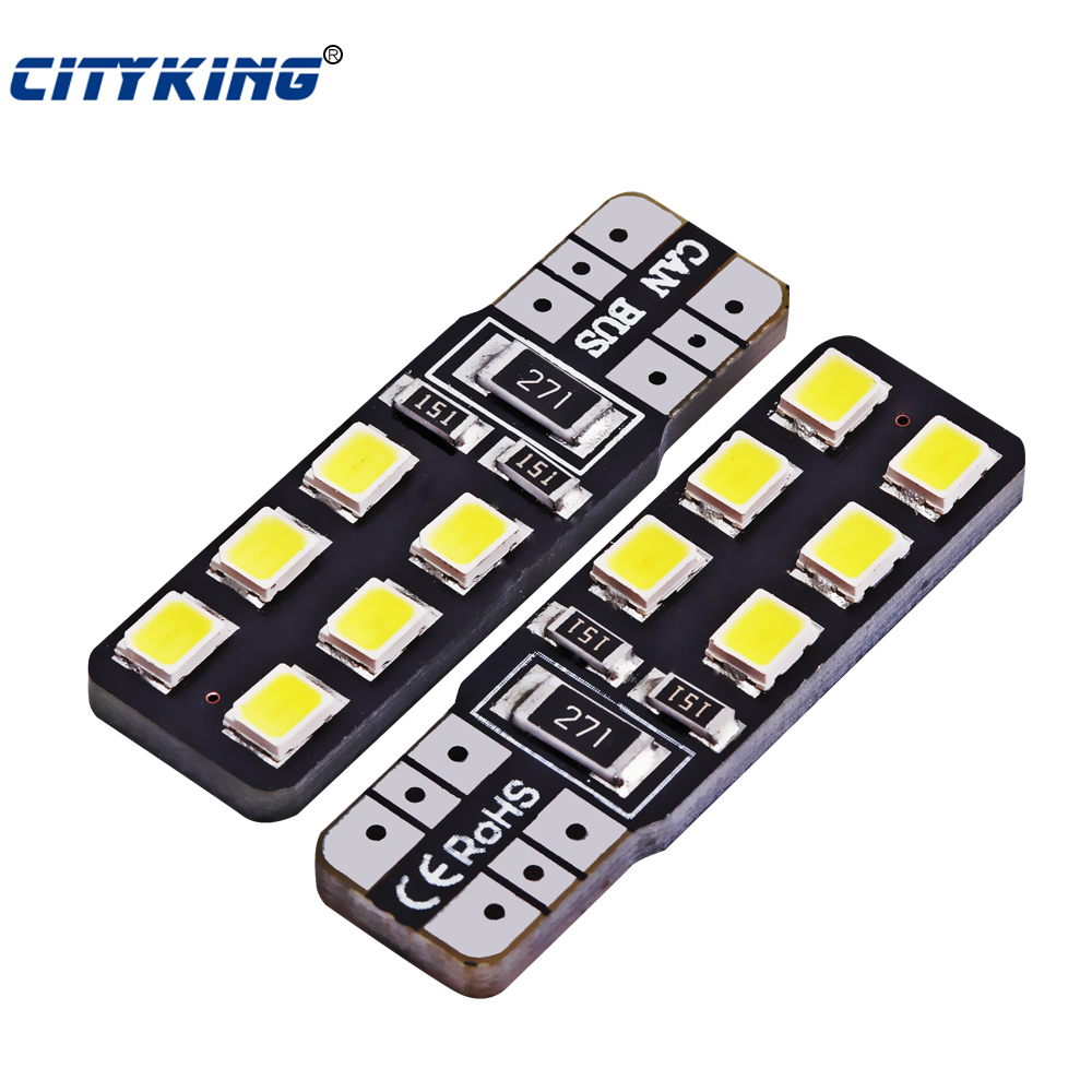 4Pcs/lot White CANBUS T10 LED 12smd 2835 led W5W led No Error Car Light Source wedge Light Error free Signal Light car-styling wholesale 10pcs lot canbus t10 5smd 5050 led canbus light w5w led canbus 194 t10 5led smd error free white light car styling
