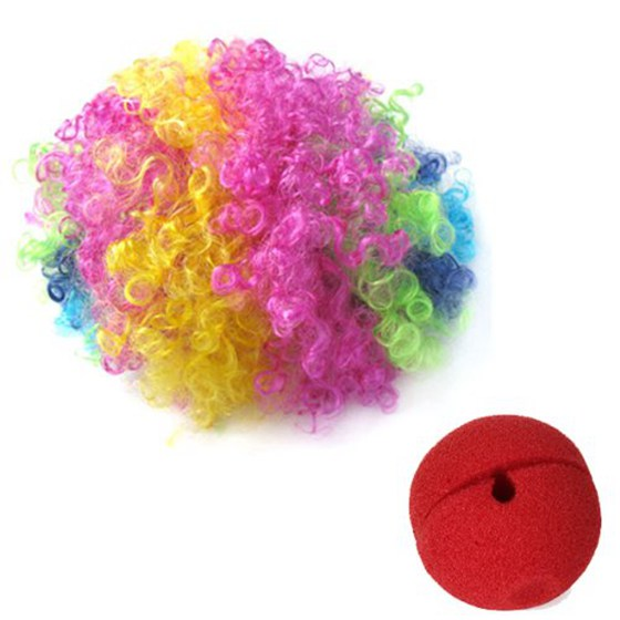 2018 New Red Foam Clown Nose + Multi-colored Clown Wig for Masquerade Cosplay fancy dress.