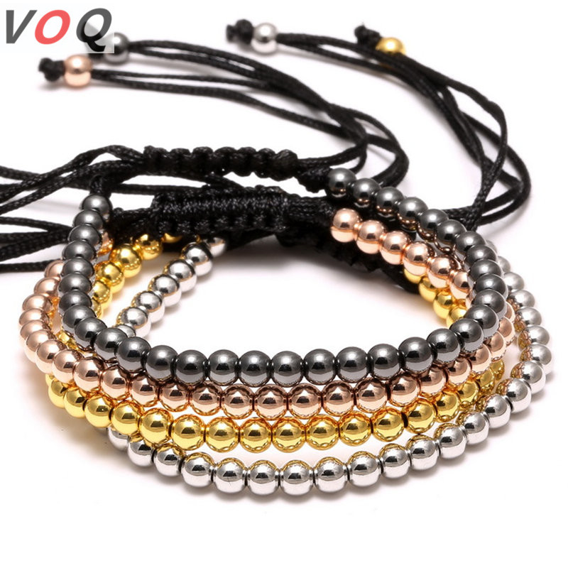 Wholesale High Quality Brand 4mm Copper Round Beads Charm Bracelet Braided Macrame Men Bracelets & Bangles For Jewelry Gift