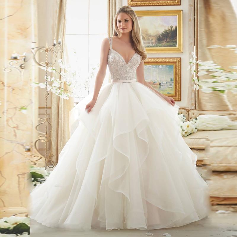 Vestido de noiva Luxury Tube Top Beading Crystals Bride Wedding Dress 2016  Organza Wedding Ball Gown