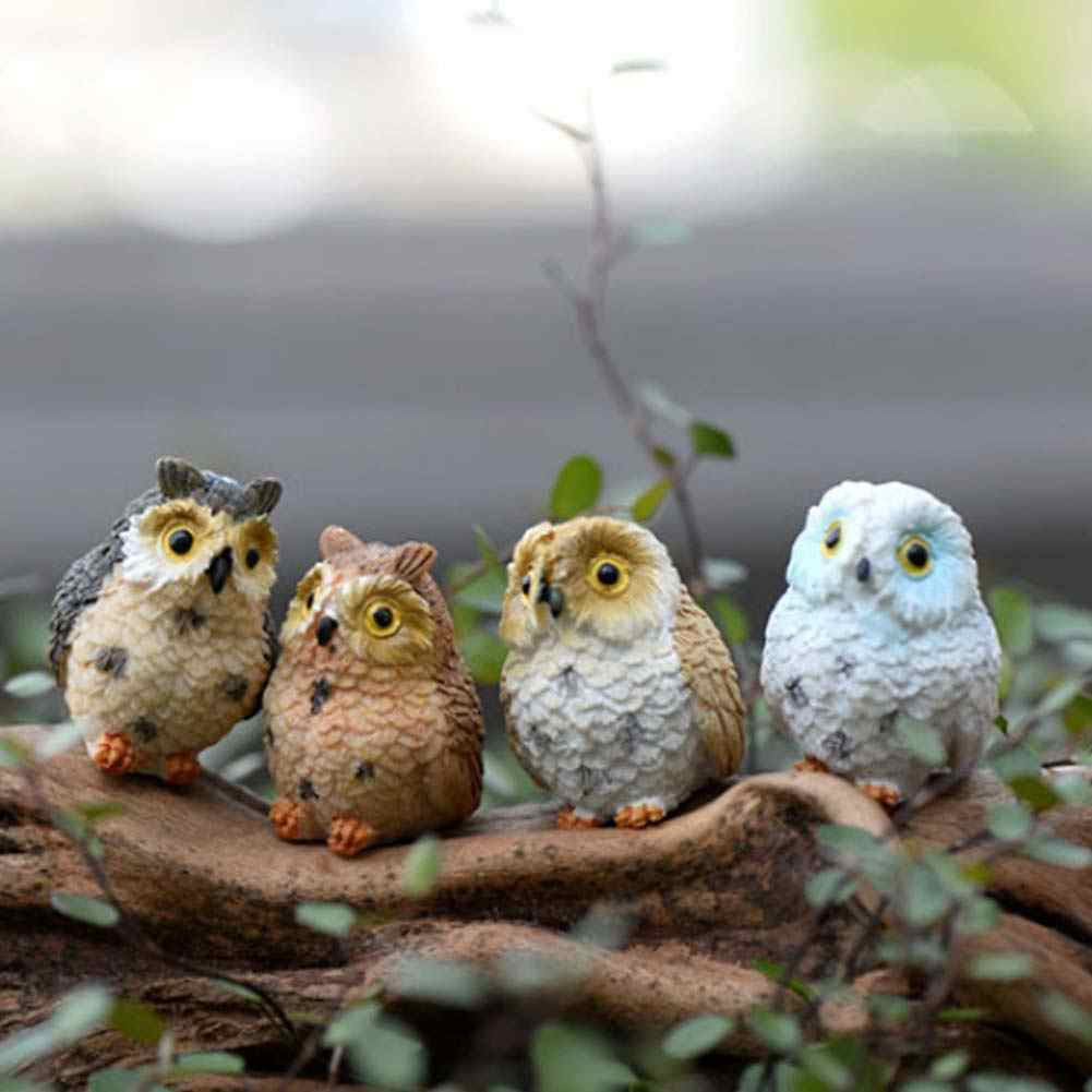 4pcs/lot Miniature Owls Fairy Garden Bonsai Craft Terrarium Figurine Potted Plants Landscape Decorative Miniatures #22