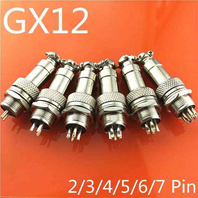 1set GX12  2/3/4/5/6/7 Pin Male + Female 12mm Wire Panel Connector Aviation Connector Plug Circular Socket Plug with Cap Lid