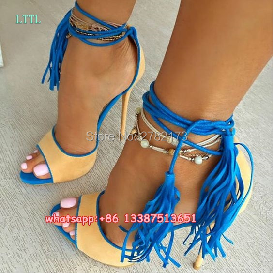 ФОТО Peep Toe Ankle Wrap Fringed Lady Stiletto Sandals Party Dress High Heels Pumps Rome Style Designed Woman Tie Up Sandals Shoes