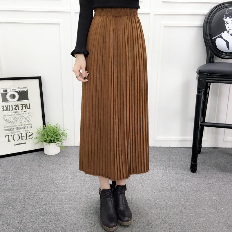 df317467359394 Long Skirt Winter Warm Jupe Femme 2016 Fashion High Waist Pleated Skirt  Vintage Accordion Maxi Skirts Womens Velvet Skirt Faldas-in Skirts from  Women's ...