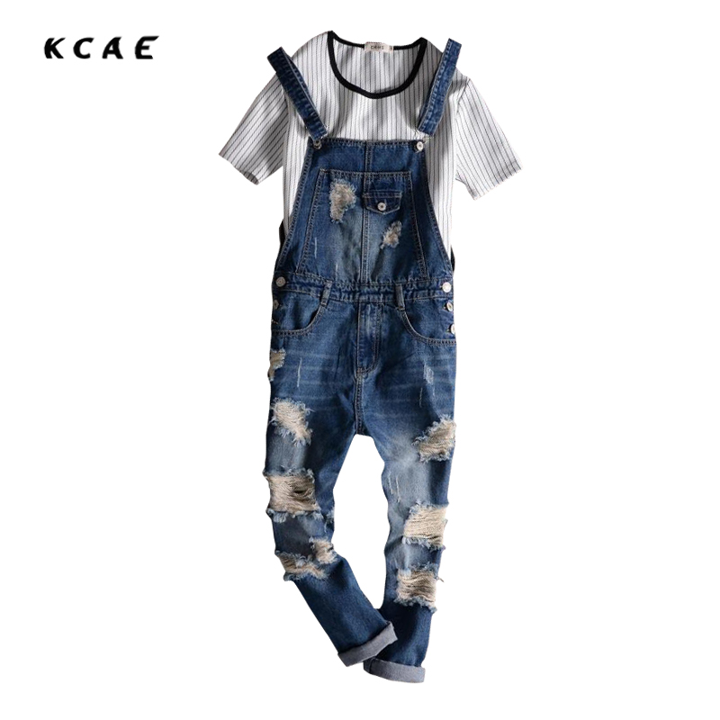 2016 Spring Autumn Fashion Brand mens slim jeane overalls Casual bib jeans for men Male Ripped denim jumpsuit от Aliexpress INT