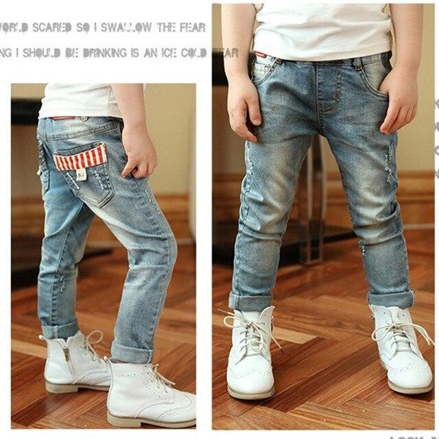 Бесплатная доставка! высокое качество весной и осенью Новая мода дети детские/мальчиков Случайные джинсы детей брюки, дети рваные джинсы + дети жан