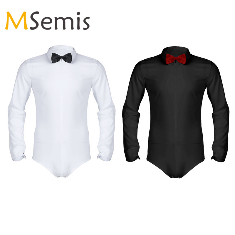 56e2efb94a9 Detail Feedback Questions about Mens Dance Shirt Long Sleeve Zipper Latin  Modern Dance Shirt with Bowtie One piece Romper Shirt Mens Body Suit Thong  Leotard ...