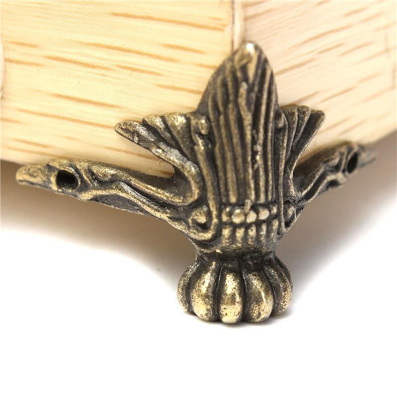 Hakkin 4X Antique Brass Jewelry Gift Box Wood Case Decorative Feet Leg Corner Protector