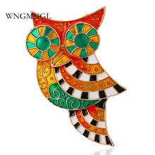 WNGMNGL 2018 New Arrival Colorful Enamel Owl Brooches Pins For Women Unique Design Cute Korean Style Fashion Jewelry