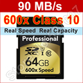 Brand 600x 90MB/s 16GB 32GB 64GB 128GB Large Real Capacity SDXC Memory Card For Canon Nikon 1080p HD 3D DSLR Camera Camcorder DV