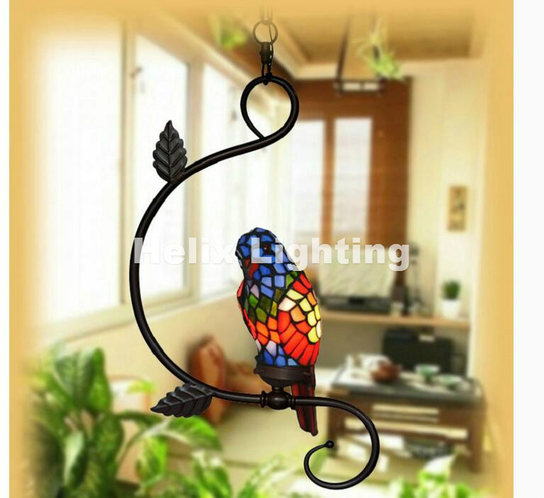 Newly Single and Double Novelty Bird Pendant Child Bedroom Parrot Lamps for Balcony Home Decoration AC E27 100% Guaranteed stylish bicycle lock and round pendant double sweater chains for women